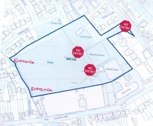 Map of Whitwick Park showing entrances to rear and closures to the main entrance