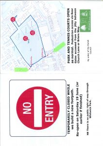 Temp closure of Whitwick park Drive 14 16 June 21